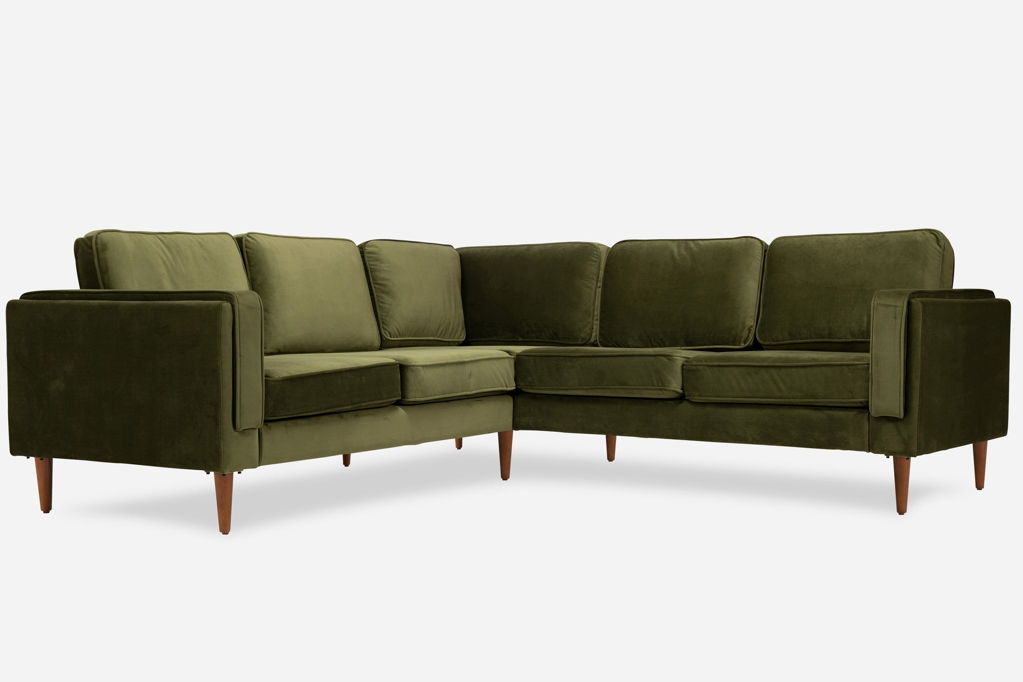 Olive Velvet Walnut Corner Sectional