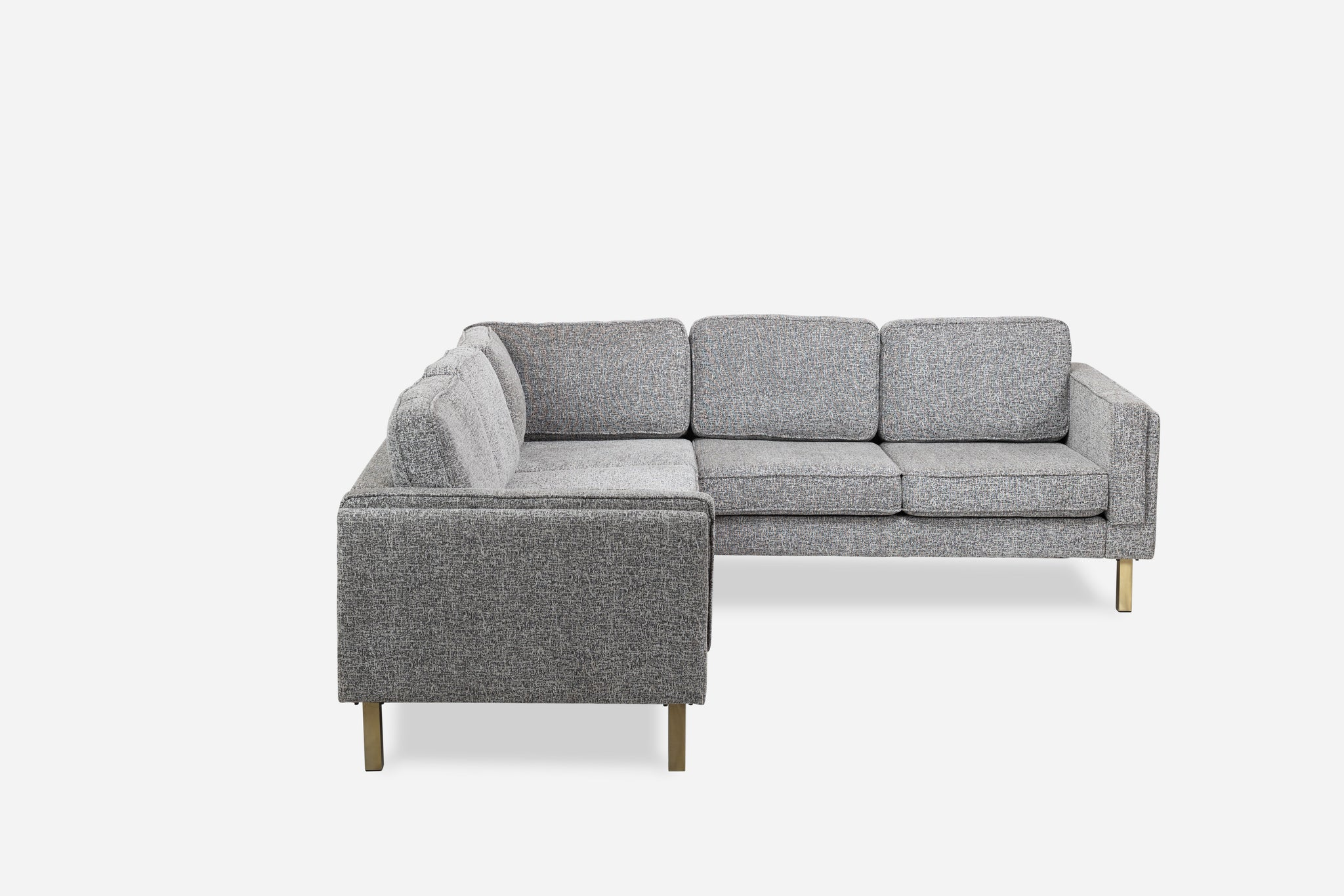Grey Fabric Gold Corner Sectional