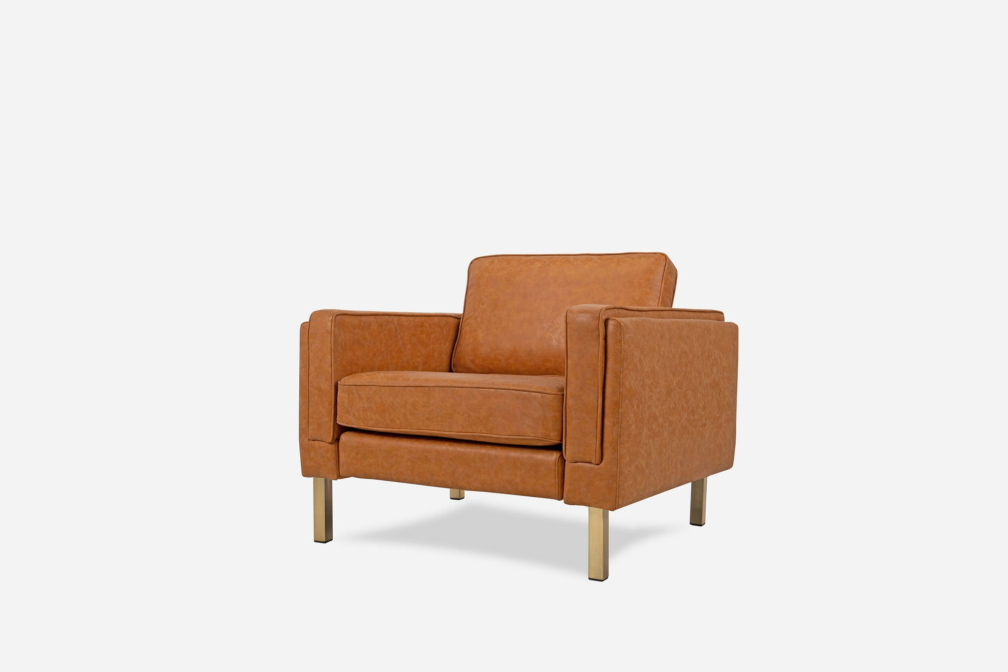 Distressed Vegan Leather Armchair, Gold Legs