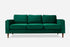 comfy green velvet sofa walnut legs