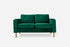 green velvet gold legs modern loveseat