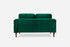 green velvet walnut burrow sofa