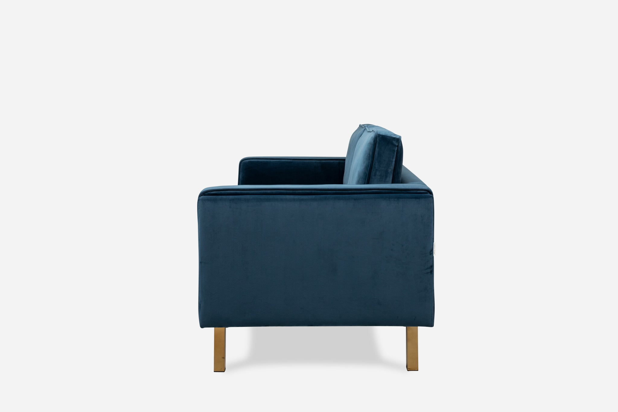 Albany Park Blue Velvet apartment Sofa gold legs