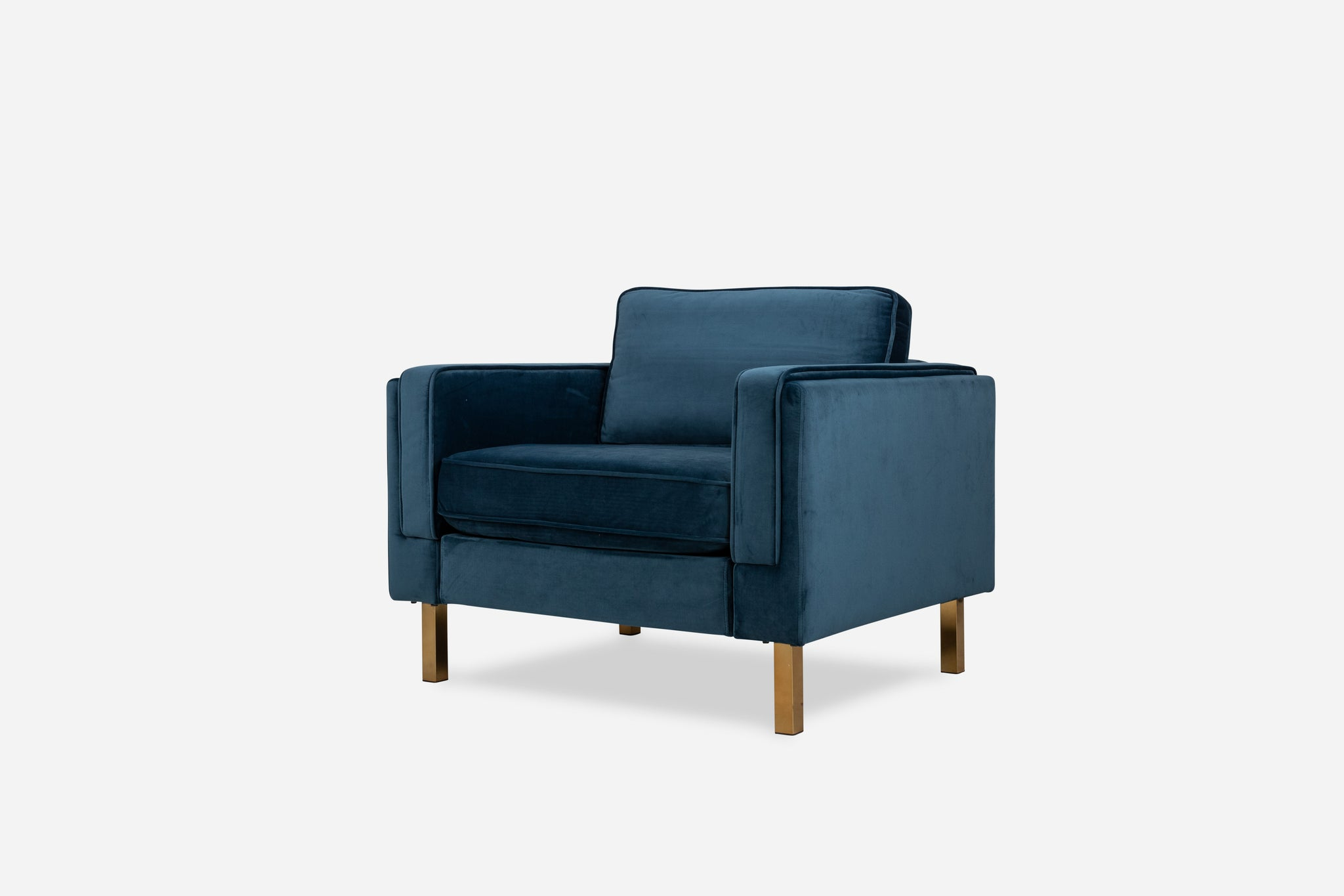 blue velvet chair gold legs