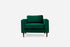green velvet armchair walnut legs