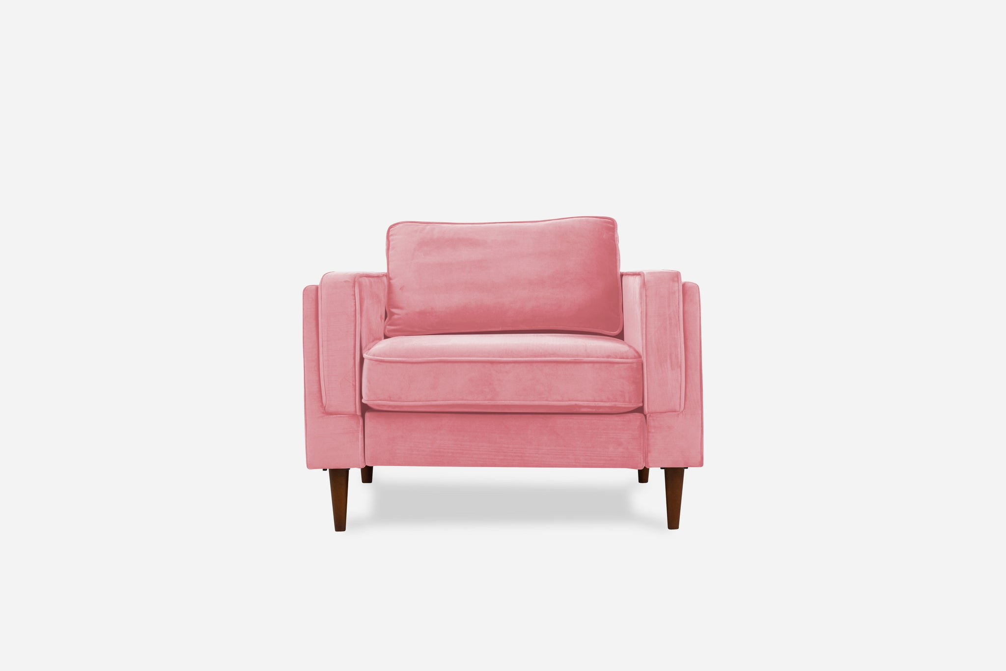 Blush Pink Velvet, Walnut Legs