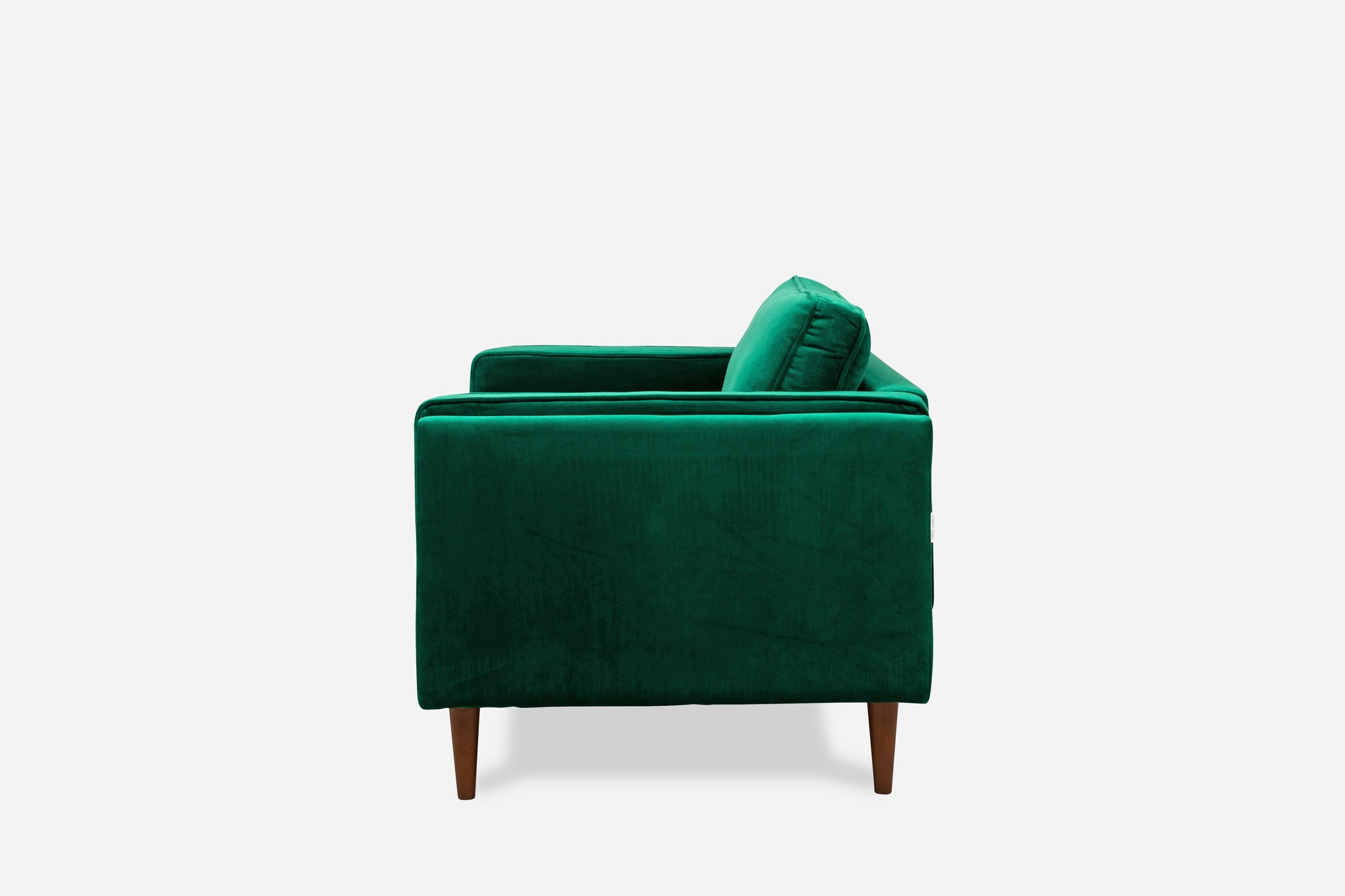 albany park walnut green velvet armchair living room modern