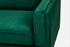 green velvet walnut campaign sofa