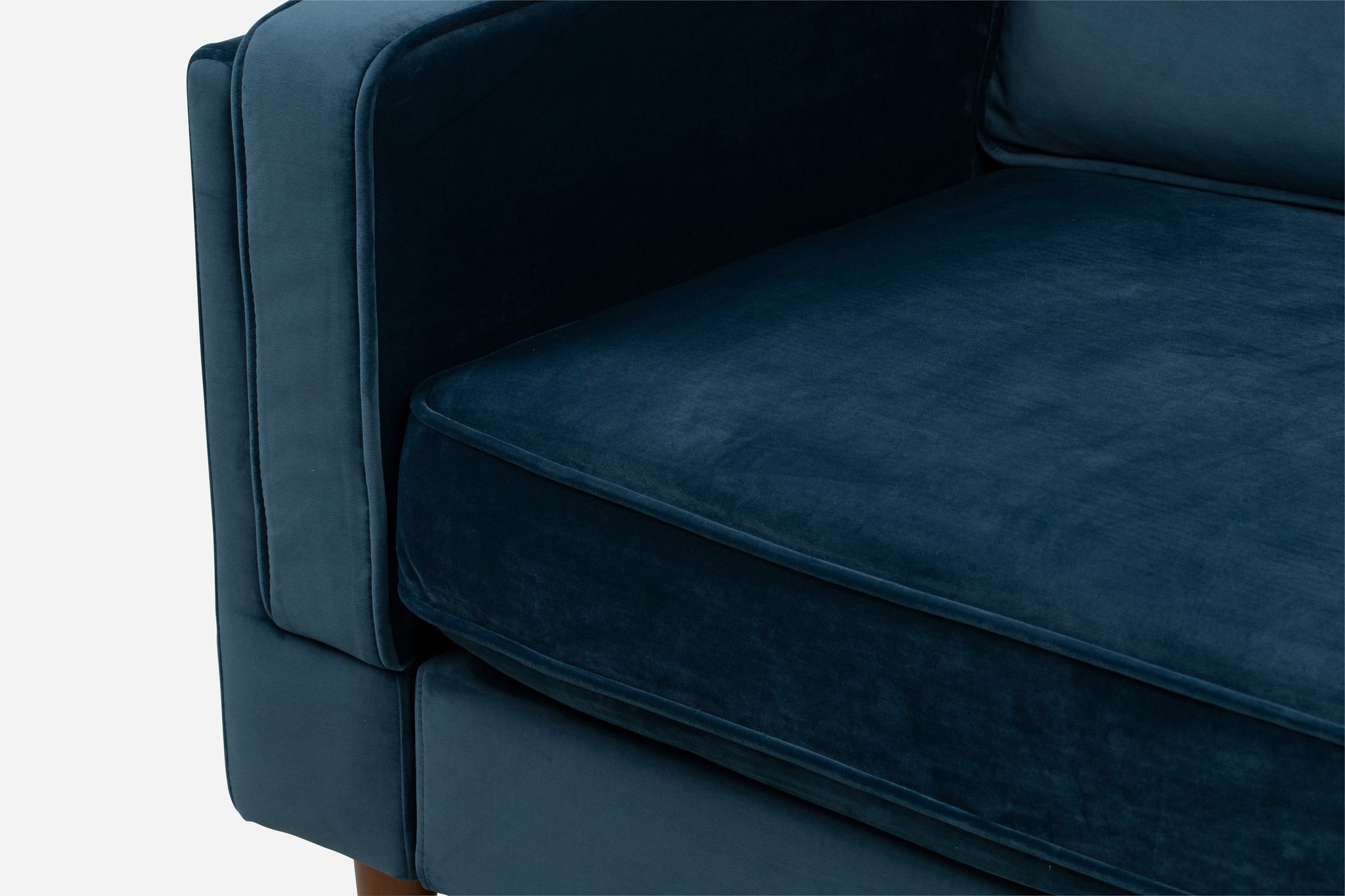 blue velvet walnut albany park burrow couch