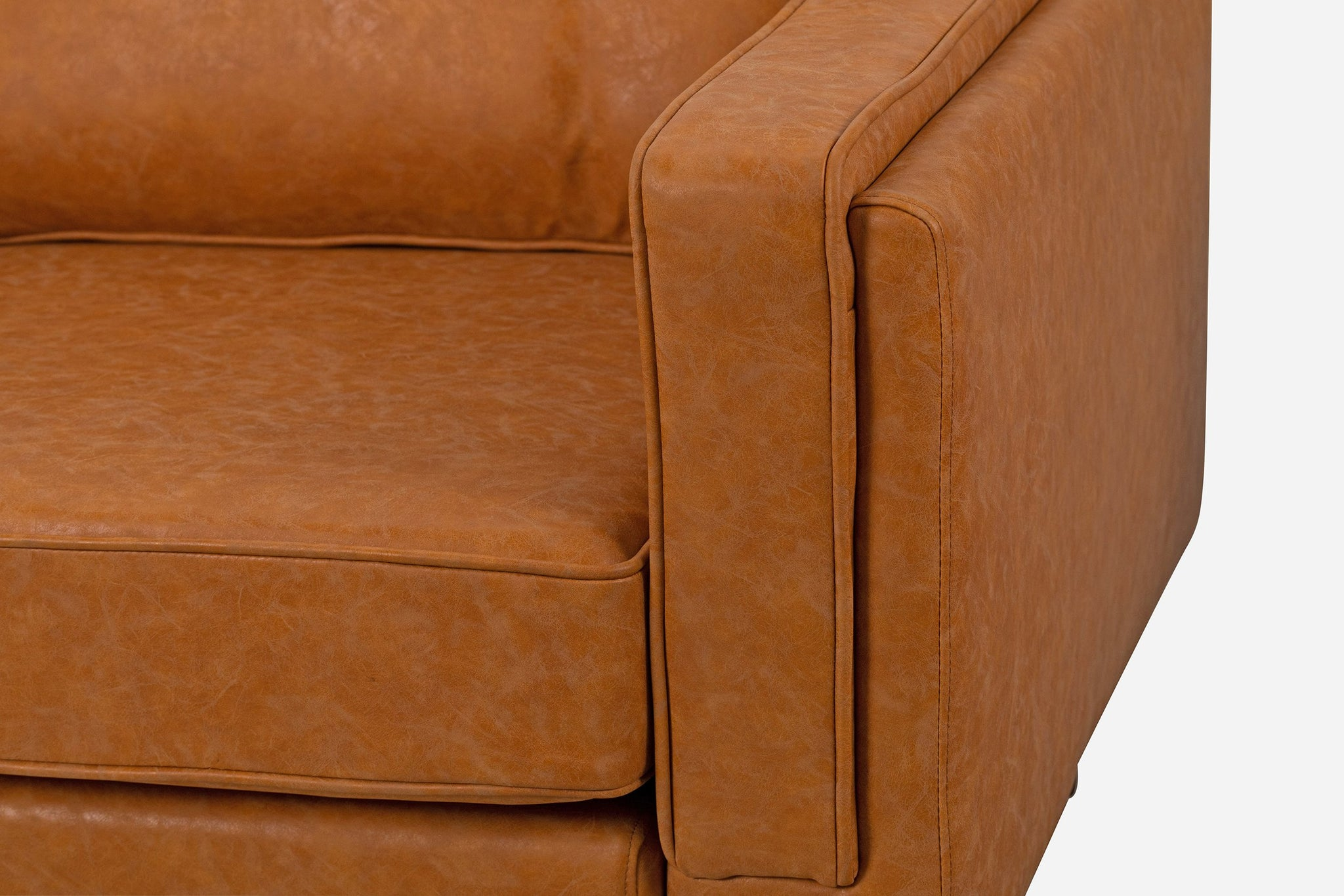 Distressed Vegan Leather Armchair, Walnut Legs
