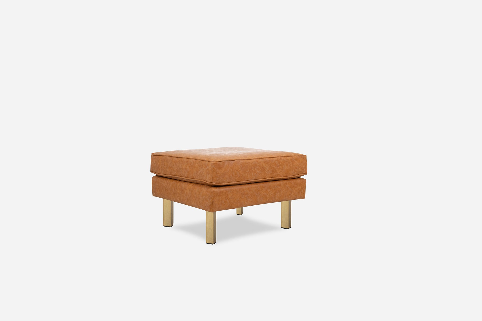 Distressed Vegan Leather Ottoman, Gold Legs