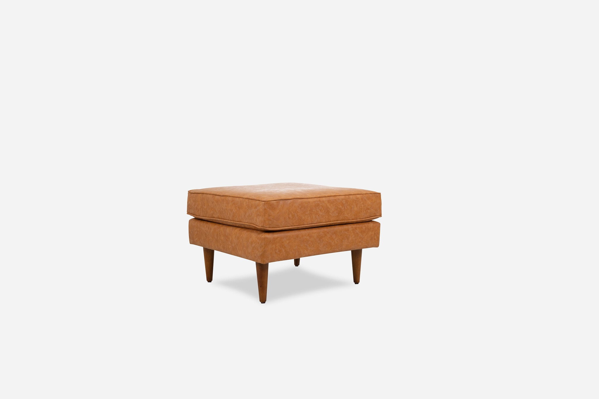 Distressed Vegan Leather Ottoman, Walnut Legs