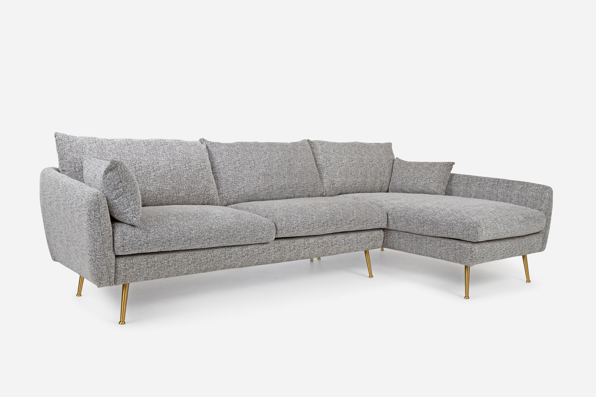 Grey Fabric Gold Legs Right Facing Sectional Sofa