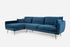 Blue Velvet Gold Legs Left Facing Sectional Sofa
