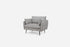 grey fabric black legs modern armchair