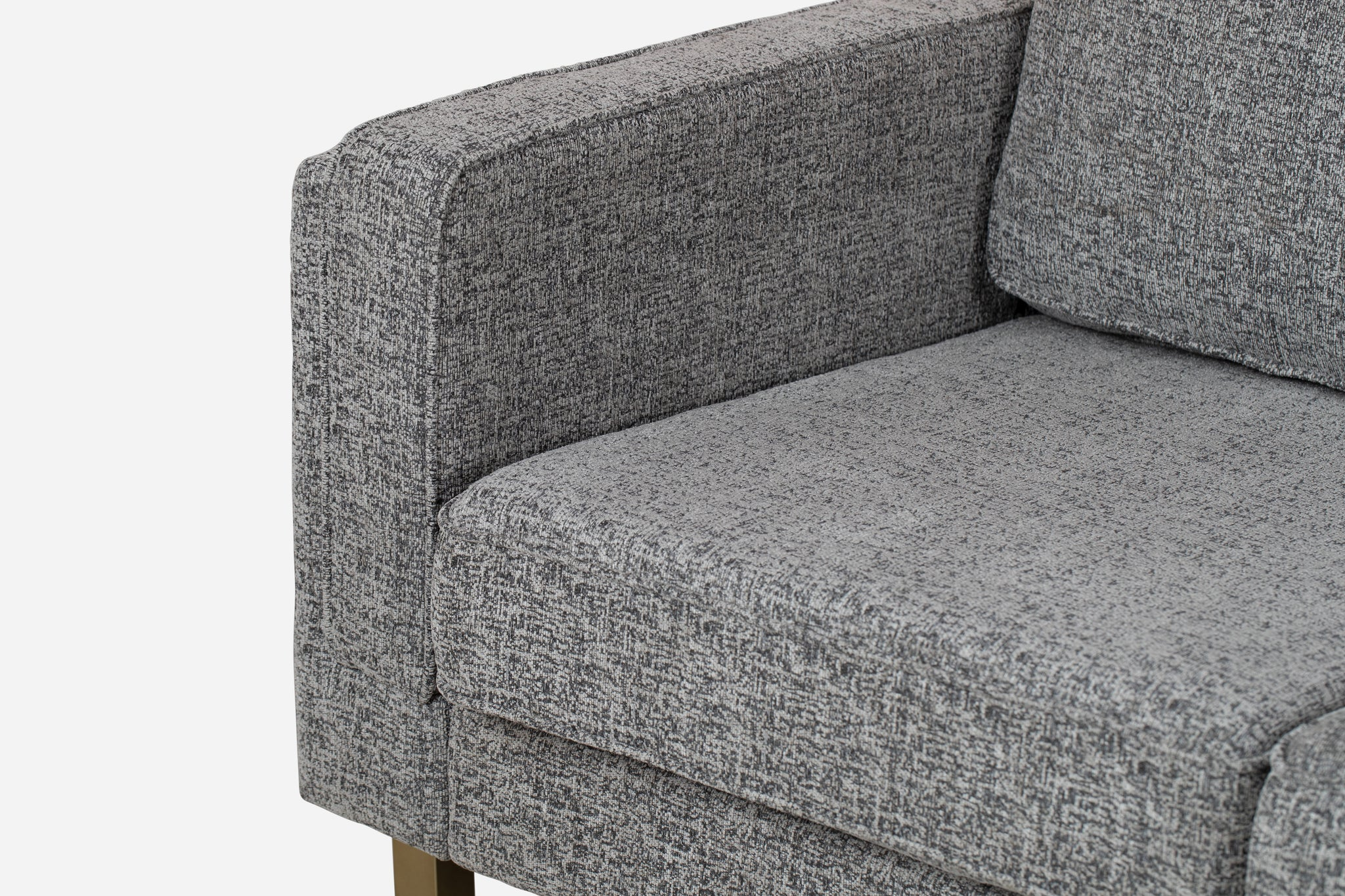 albany grey fabric gold legs midcentury modern