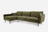 Olive Velvet Black Legs Left Facing Sectional Sofa