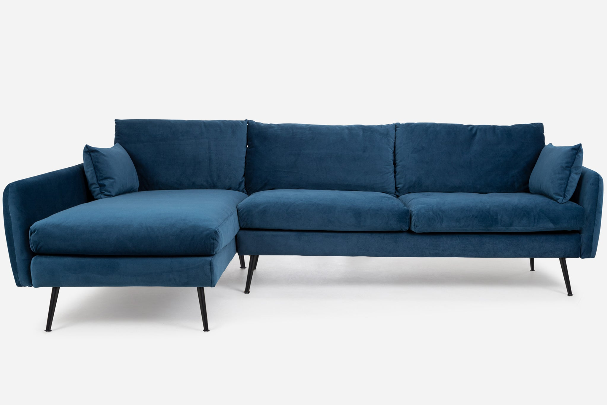 Blue Velvet Black Legs Left Facing Sectional Sofa