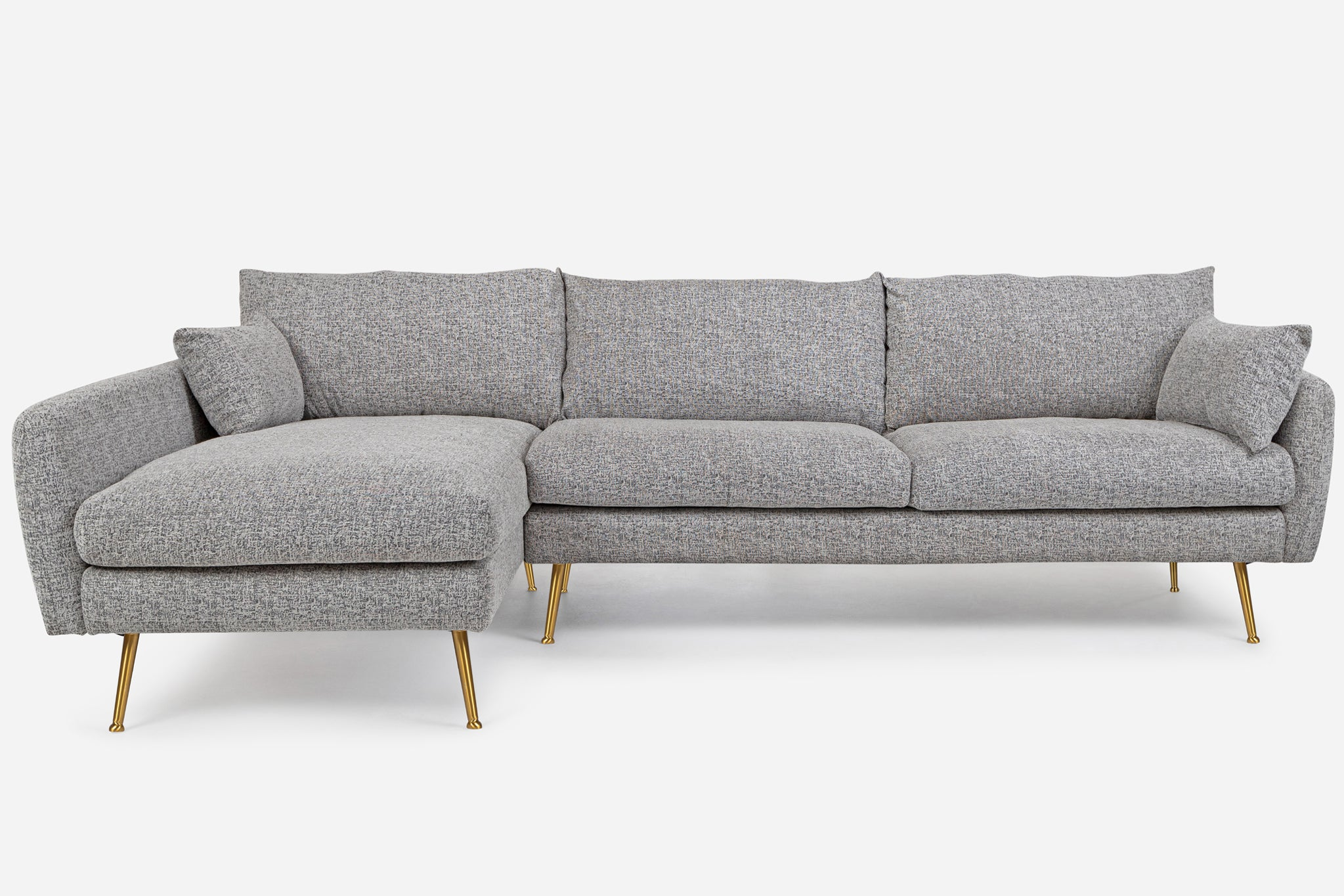 Grey Fabric Gold Legs Left Facing Sectional Sofa