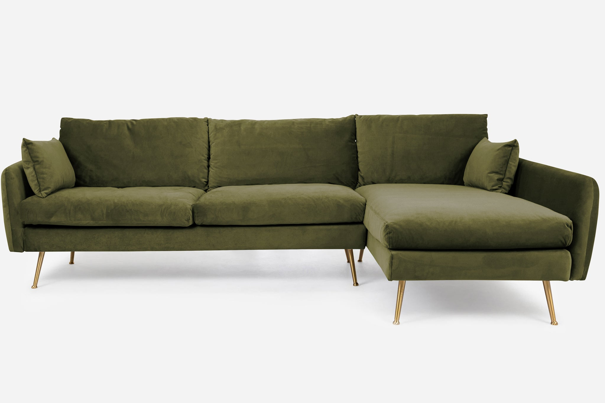 Olive Velvet Gold Legs Right Facing Sectional Sofa