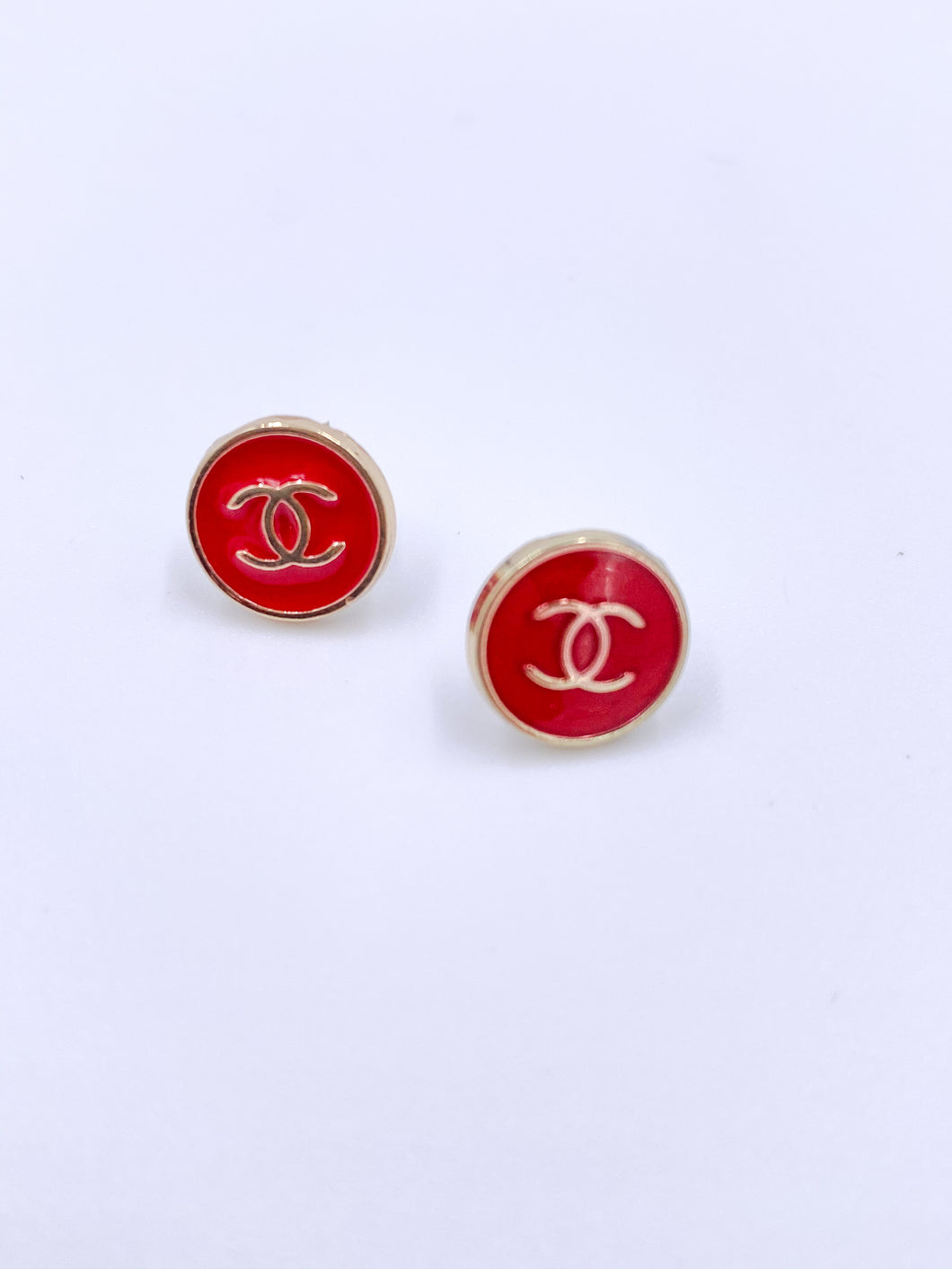 Chanel Sleek Red Studs Small