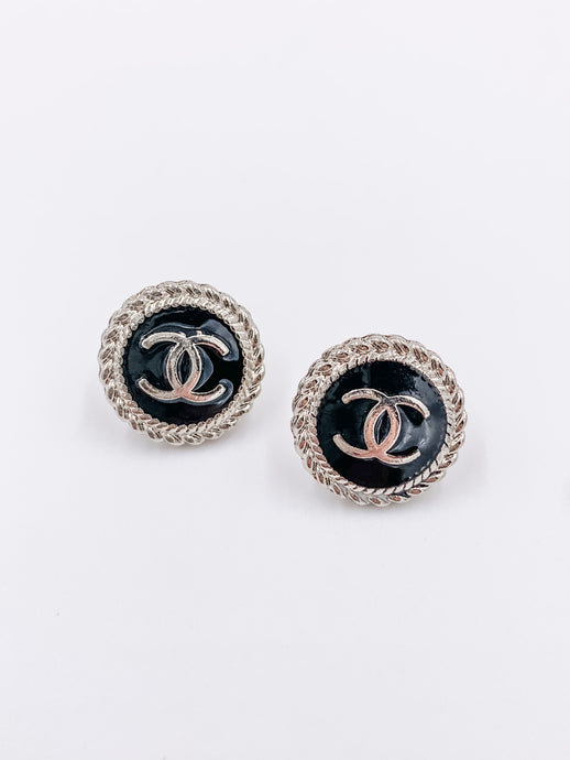 Chanel Perfect Black and Silver Studs