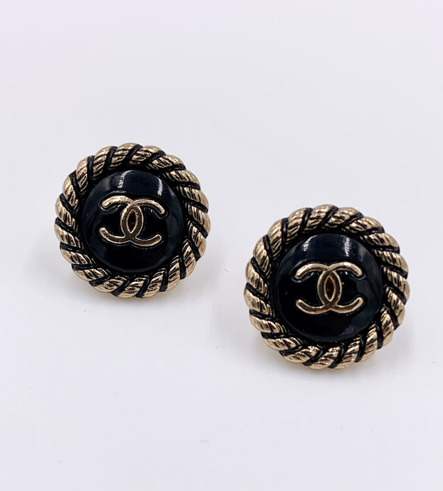 Chanel Black Rope Studs