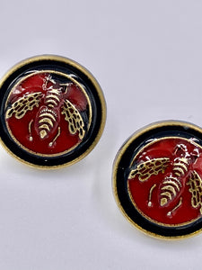 Gucci Red and Black Bee Studs
