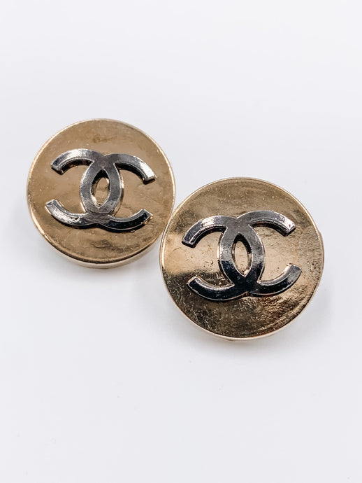 Chanel Gold and Grey Studs Large