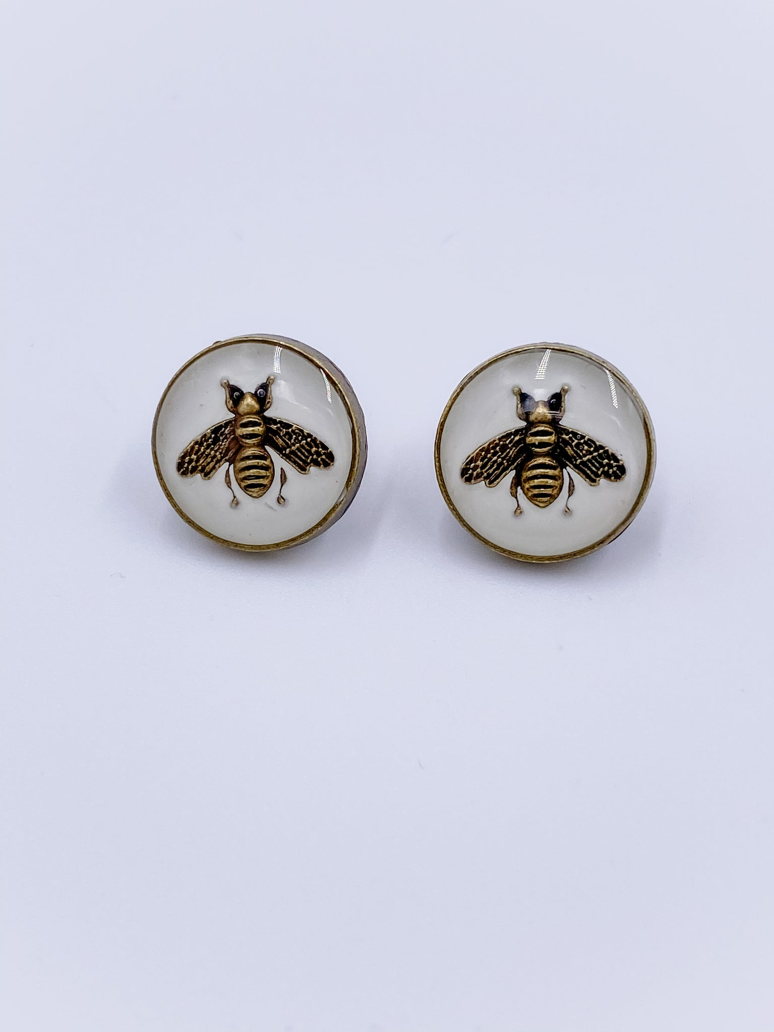 Gucci White Bee Earrings