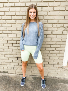 Ribbed Biker Shorts Neon Yellow