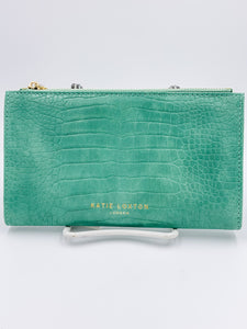 Celine Faux Croc Wallet Mint Green