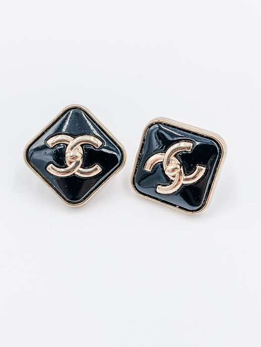 Chanel Black Dimond Studs