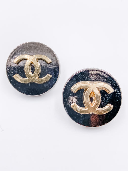 Chanel Gunmetal and Gold Studs Large