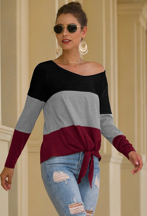 Waist Tie, Color Block Top
