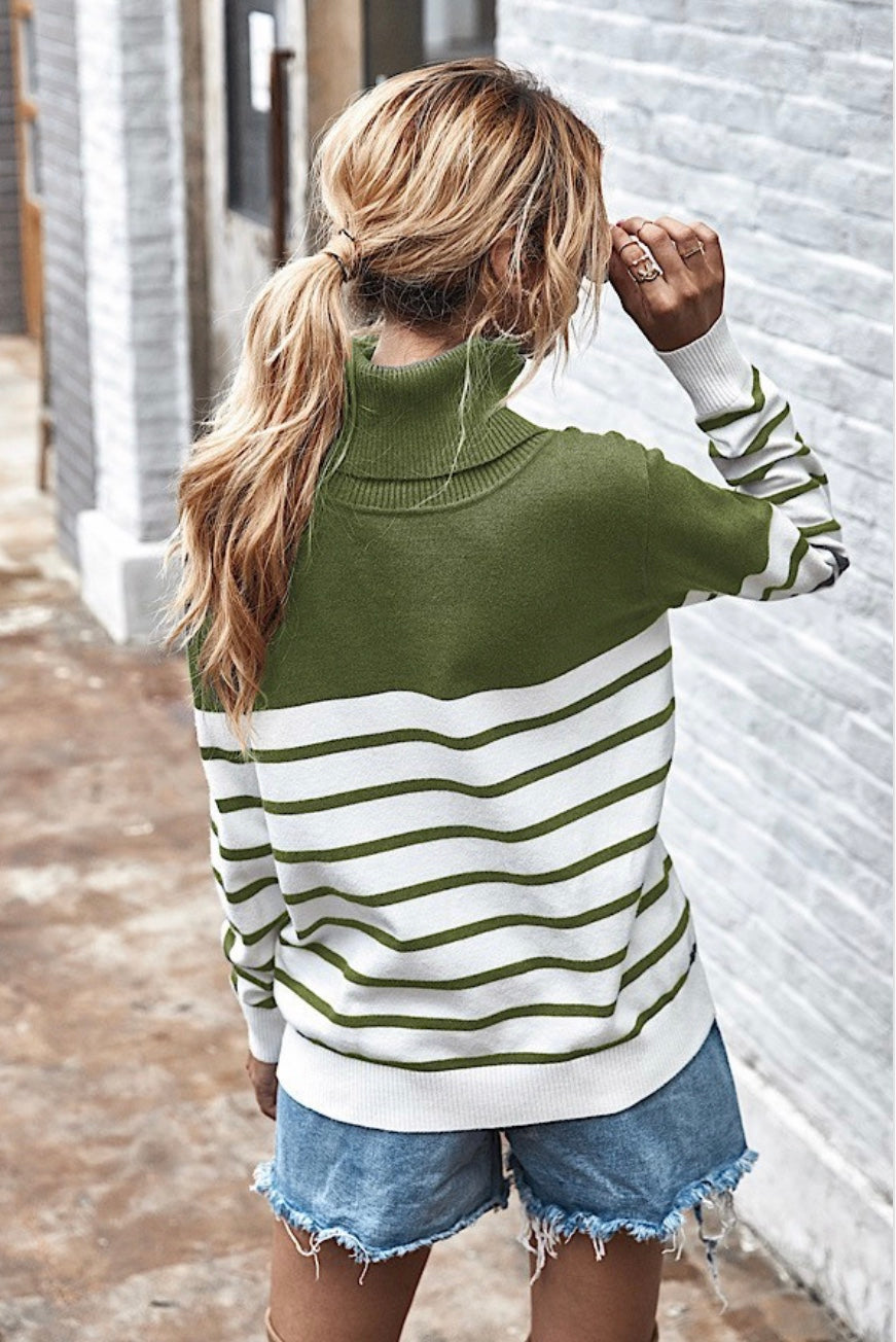 Striped Turtle Neck-MORE SIZES ARRIVING SOON