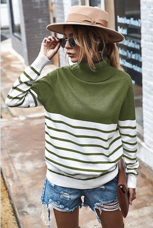 Striped Turtle Neck