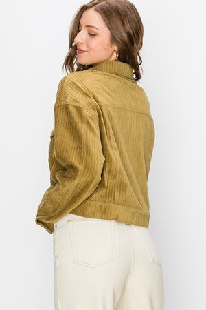 Corduroy Cropped Trucker Jacket