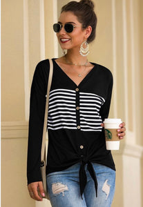 Casual Waist Tie Top with White Stripe Details