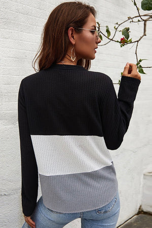 Waffle Knit, Color Block Top with Waist Tie