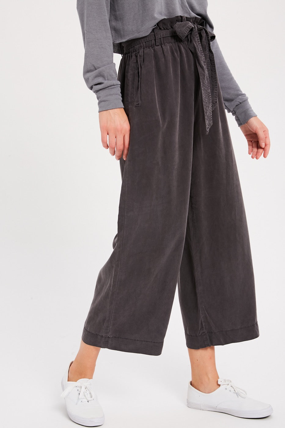 Capri Belted Tencel Pants