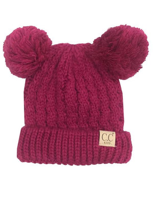 C.C Kids Beanies with Double Poms