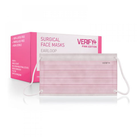 VERIFY+ Pink Surgical Face Masks (Ear Loop)