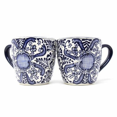 Rounded Mugs - Blue Flowers Pattern, Set of Two - Encantada - origintraders