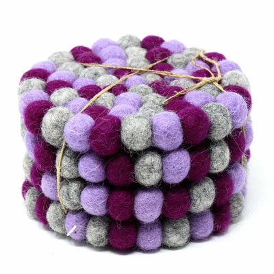 Hand Crafted Felt Ball Coasters from Nepal: 4-pack, Chakra Purples - Global Groove (T) - origintraders