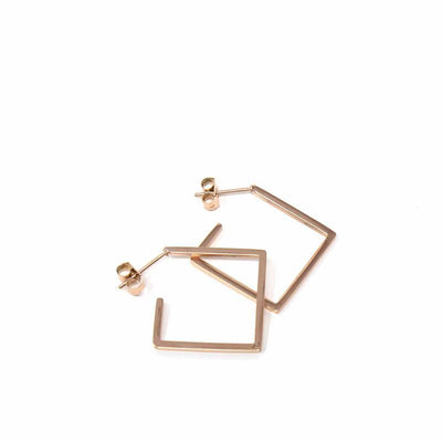 Rose Gold Plated 2D Diamond Shape Earrings - Starfish Project - origintraders