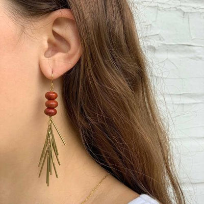 Earrings: Red Jasper and Metal Fringe - Starfish Project - origintraders
