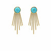 Gold and Turquoise Sunburst Stud Dangle Earrings - Starfish Project - origintraders