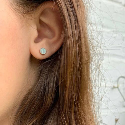 Rose Gold and Mother of Pearl Stud Earrings - Starfish Project - origintraders