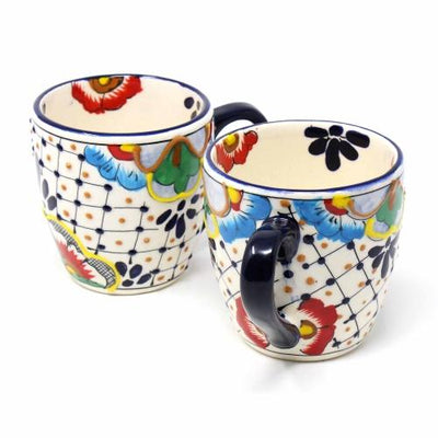 Rounded Mugs - Dots and Flowers, Set of Two - Encantada - origintraders